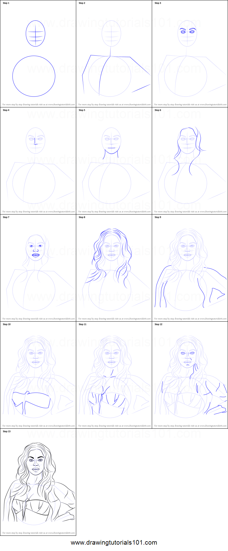 beyonce drawing step by step - photo #2