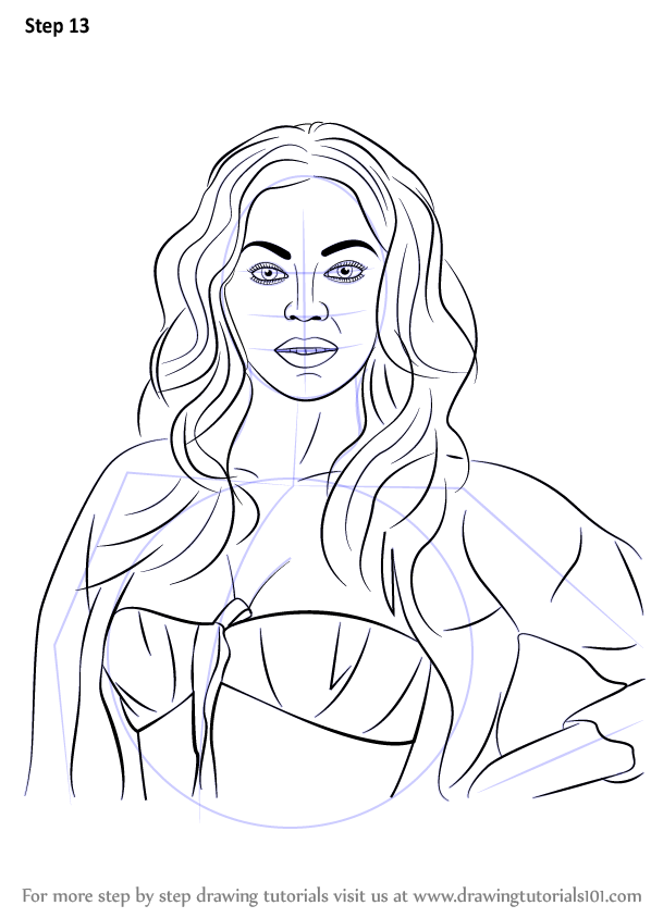 Learn How To Draw Beyonce Celebrities Step By Step