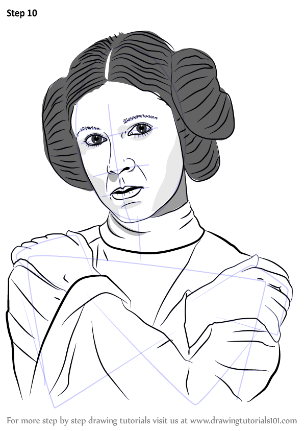 Learn How to Draw Carrie Fisher (Celebrities) Step by Step : Drawing Tutorials