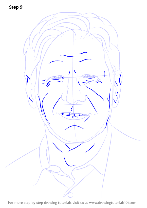 Learn How To Draw Harrison Ford Celebrities Step By Step