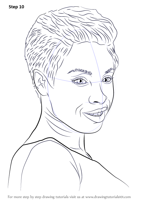 learn how to draw jennifer hudson  celebrities  step by