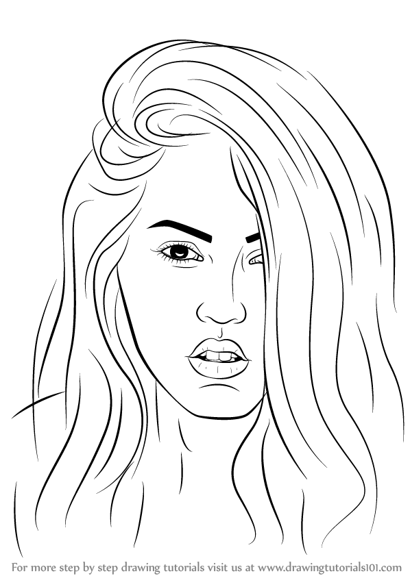 Learn How To Draw Megan Fox Celebrities Step By Step