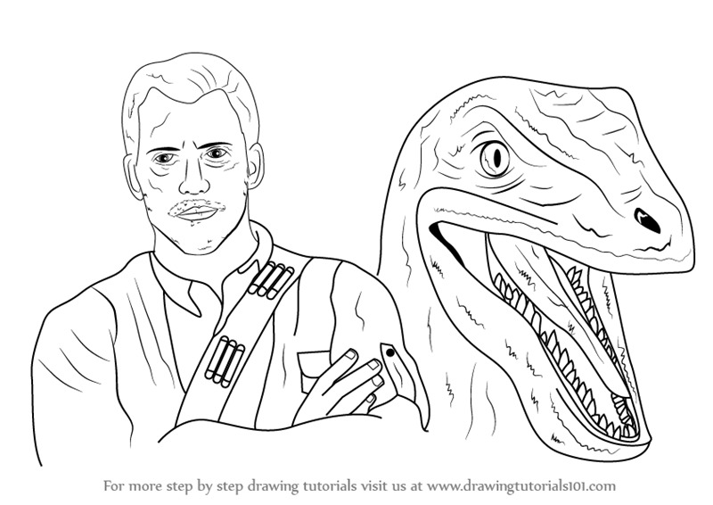 Learn How to Draw Owen Grady and Blue from Jurrasic World