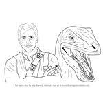 How to Draw Owen Grady and Blue from Jurrasic World