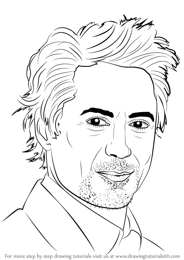 Learn How To Draw Robert Downey Jr Celebrities Step By