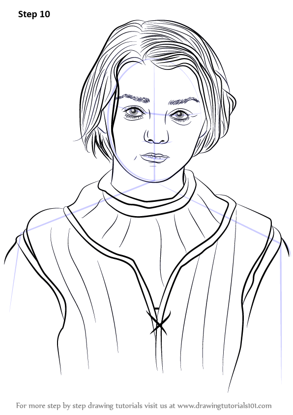 Step By Step How To Draw Arya Stark Drawingtutorials101 Com