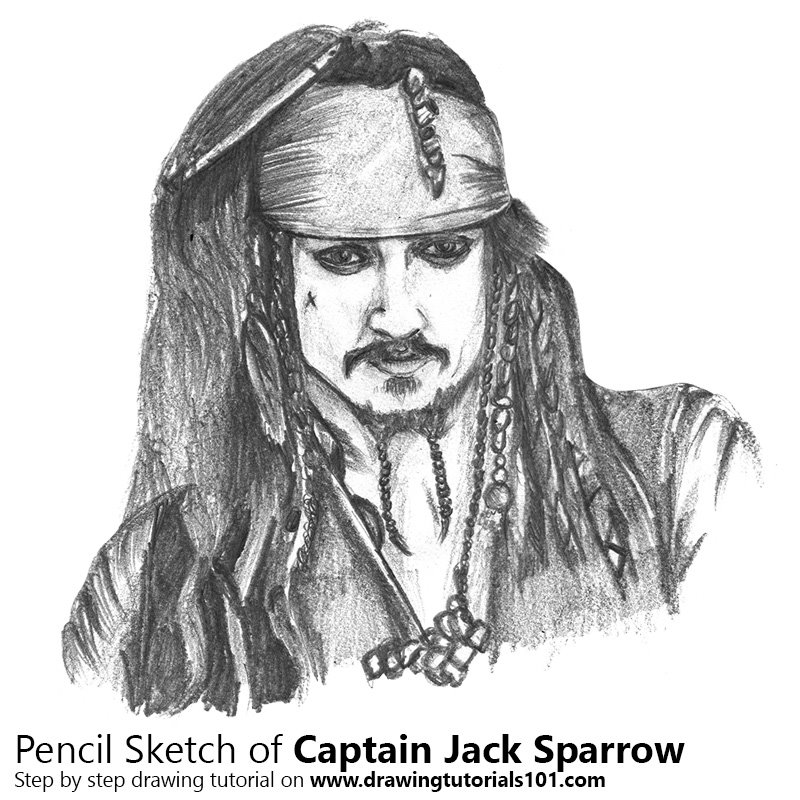 Captain Jack Sparrow Pencil Drawing How To Sketch Captain