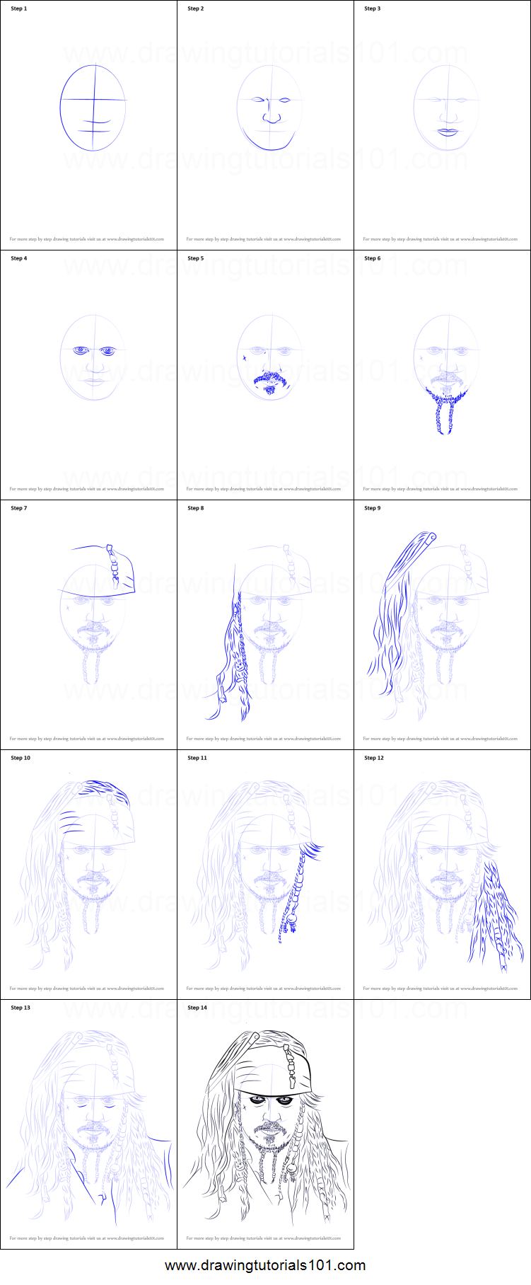 How To Draw Captain Jack Sparrow Printable Step By Step
