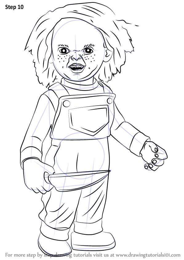 Step By Step How To Draw Chucky Drawingtutorials101 Com