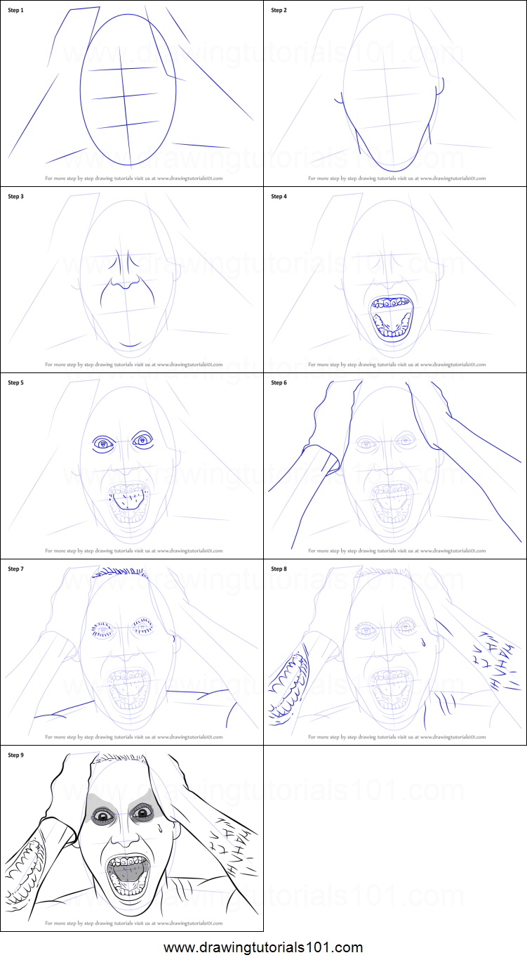 Step by step drawing tutorial on how to draw jared leto as the joker from suicide squad