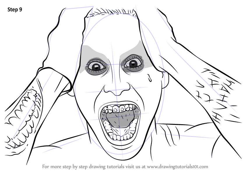 Learn How to Draw Jared Leto as The Joker from Suicide ...  Learn How to Dr...