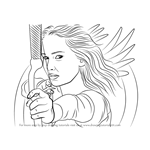 How to Draw Katniss Everdeen with Bow and Arrow