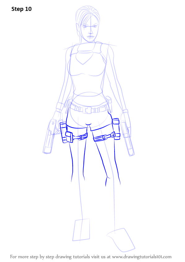 Learn How To Draw Lara Croft  Characters  Step By Step
