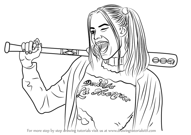 Learn How To Draw Margot Robbie As Harley Quinn Characters Step By