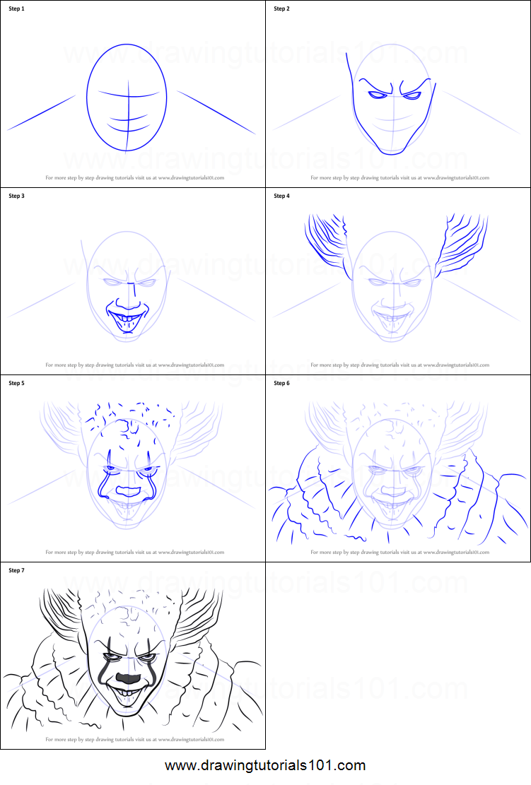 How To Draw Pennywise Printable Step By Step Drawing Sheet