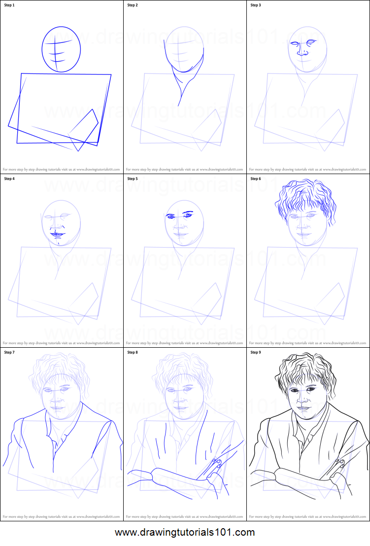 How To Draw Samwise Gamgee From Lord Of The Rings Printable Step By Step Drawing Sheet Drawingtutorials101 Com