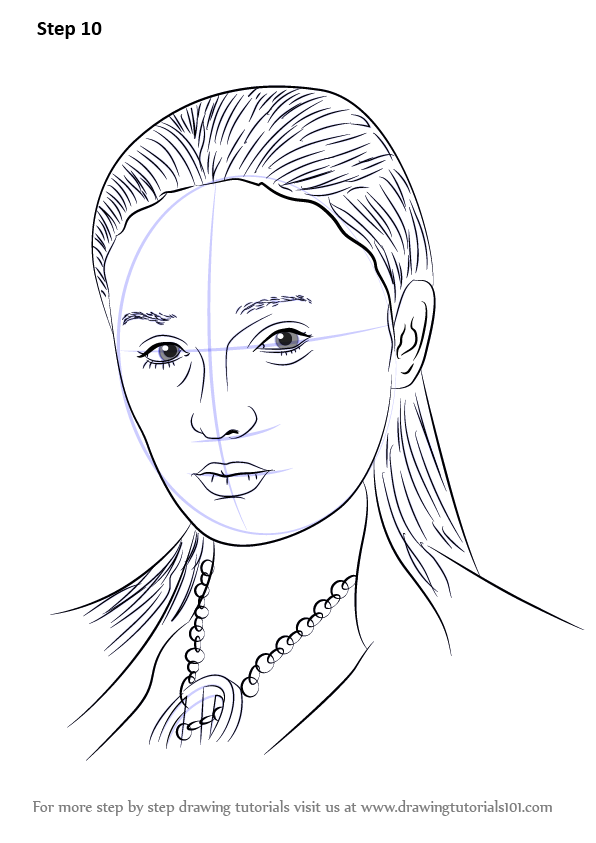 learn how to draw sansa stark  characters  step by step   drawing tutorials