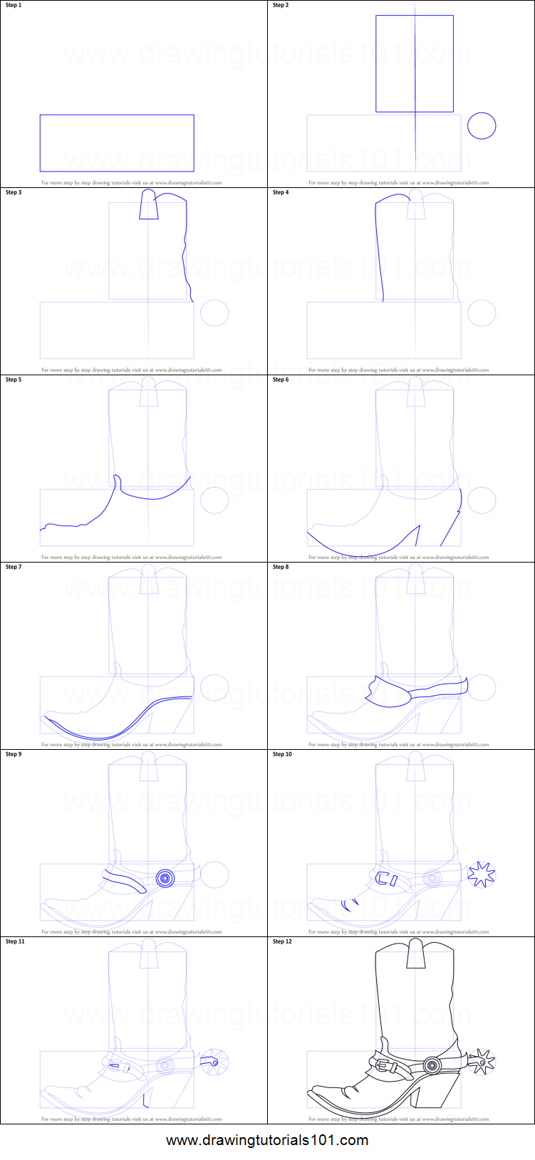 How to Draw Cowboy Boots printable step by step drawing