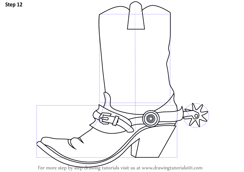 Learn How to Draw Cowboy Boots (Cowboys) Step by Step ... | 844 x 594 png 48kB