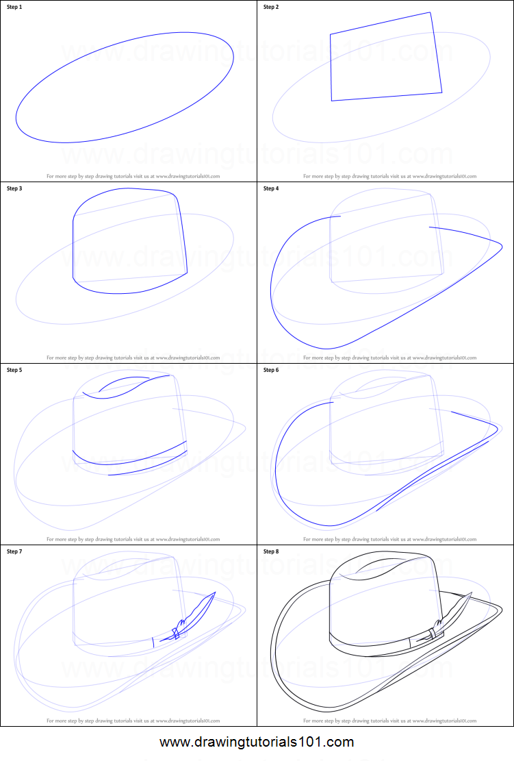 How To Draw Cowboy Hat Printable Step By Step Drawing Sheet