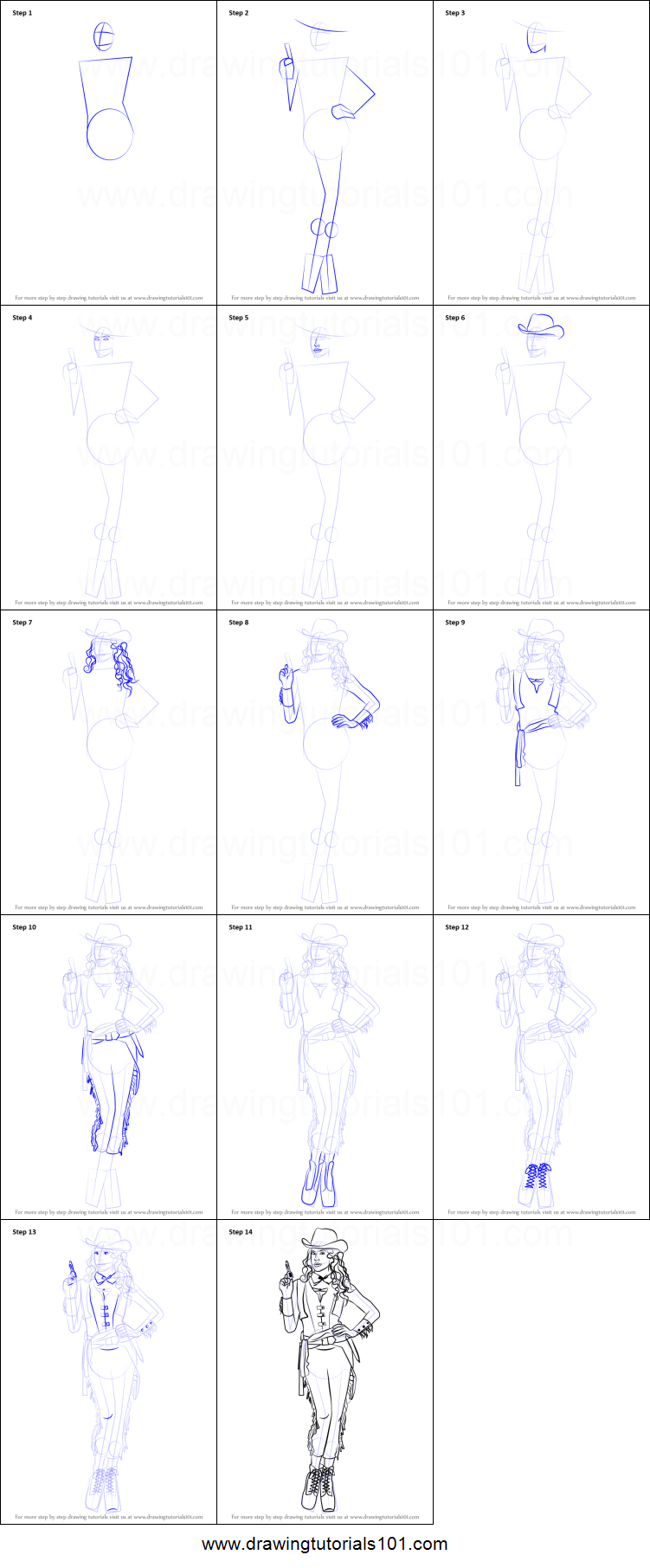 how to draw a cowgirl printable step by step drawing sheet drawingtutorials101com