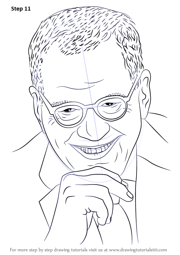 learn how to draw david letterman  entertainers  step by step   drawing tutorials