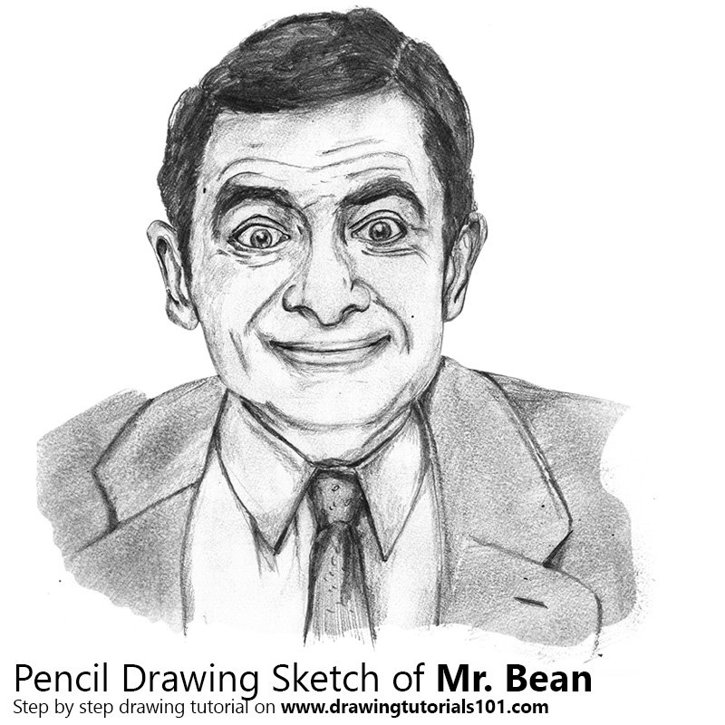 Pencil sketch of mr bean pencil drawing