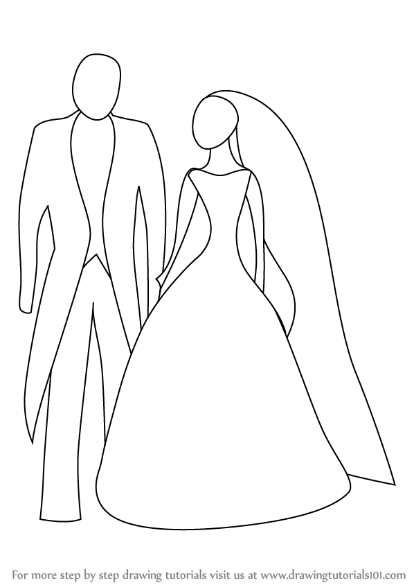Learn how to draw bride and groom for kids famous people step by step drawing tutorials