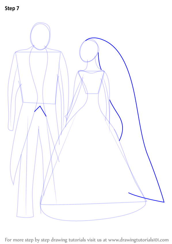 how to draw a bride and groom cartoon