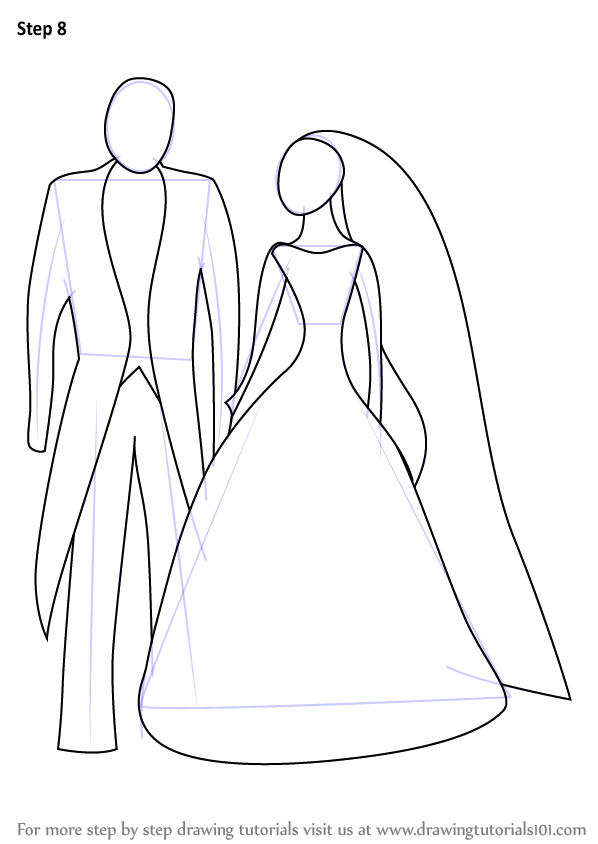Learn how to draw bride and groom for kids famous people for Free online drawing lessons step by step