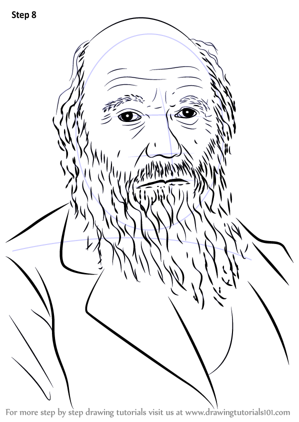 Learn How To Draw Charles Darwin Famous People Step By