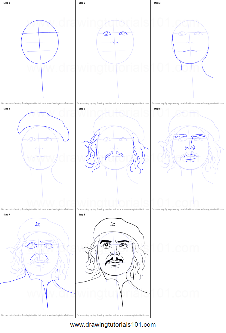 How to draw che guevara printable step by step drawing sheet