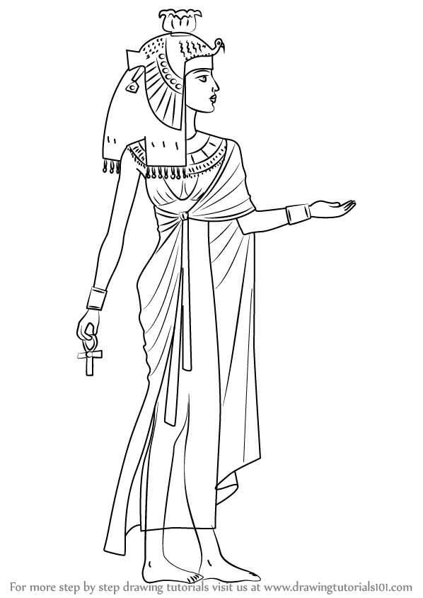Learn How To Draw Cleopatra Famous People Step By Drawing Tutorials