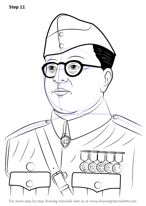 Learn How To Draw Subhash Chandra Bose Famous People Step By Step