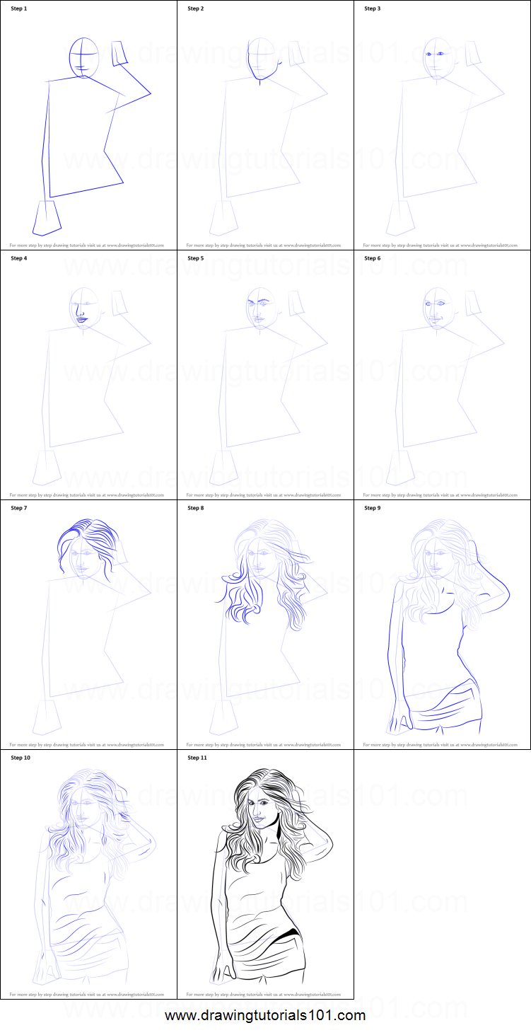Step by step drawing tutorial on how to draw katrina kaif