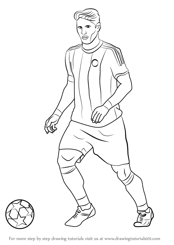 Learn how to draw bastian schweinsteiger footballers step by step drawing tutorials