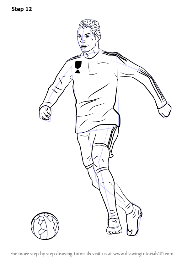 Learn how to draw cristiano ronaldo footballers step by step drawing tutorials