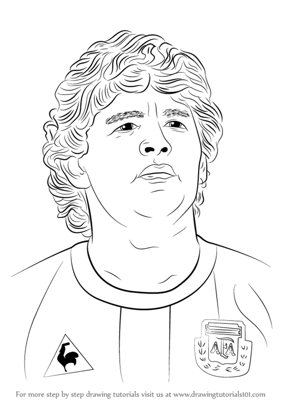 Step By Step How To Draw Diego Maradona