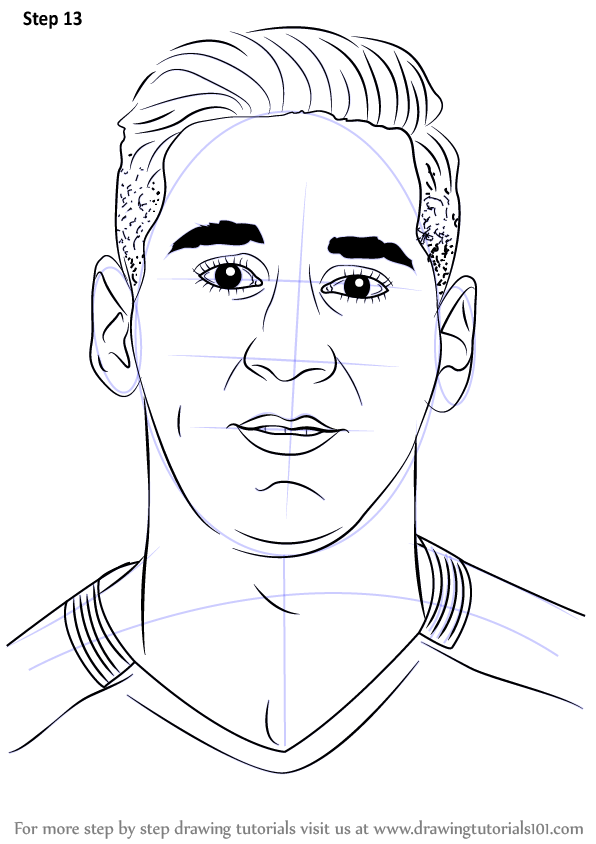 Learn how to draw lionel messi footballers step by step drawing tutorials