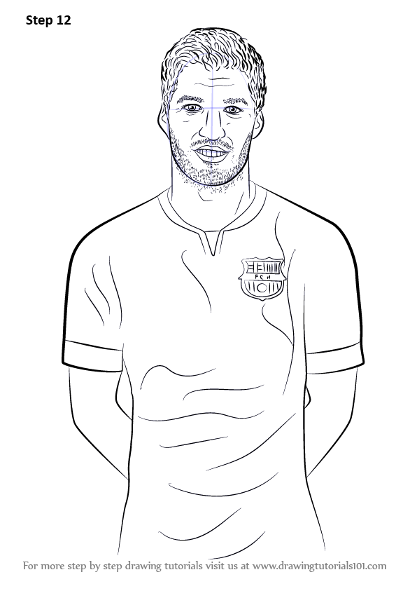 learn how to draw luis suarez footballers step by step