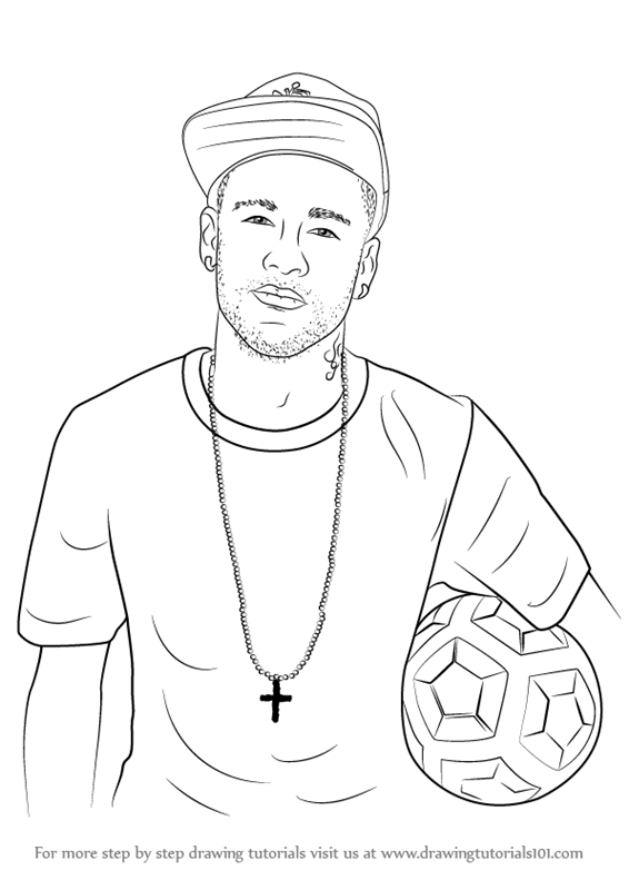 Learn how to draw neymar jr footballers step by step drawing tutorials
