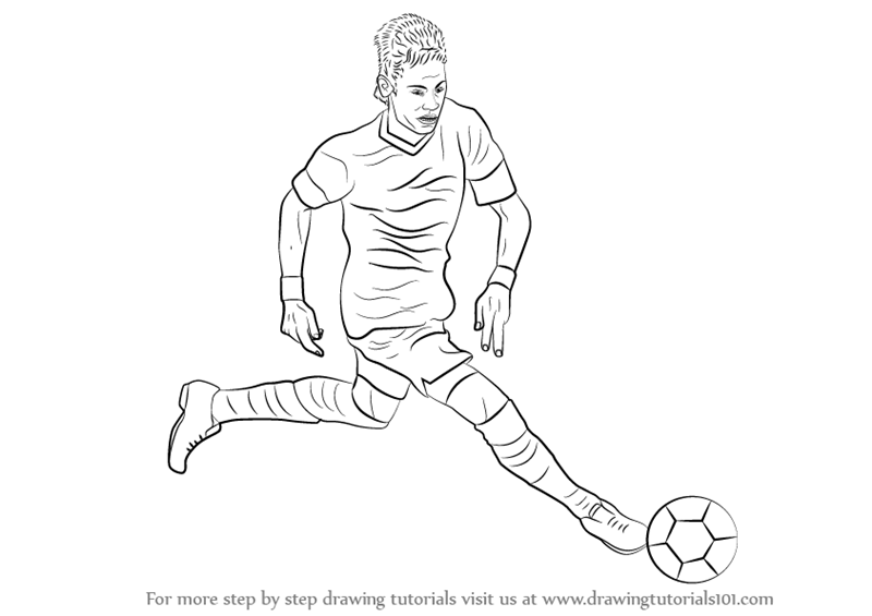 Learn How to Draw Neymar (Footballers) Step by Step ...