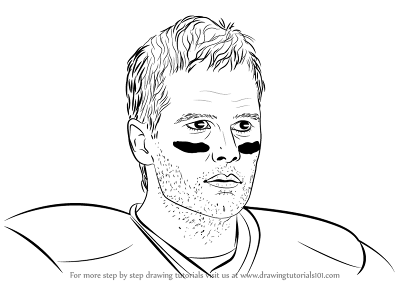 coloring pages of tom brady | Learn How to Draw Tom Brady (Footballers) Step by Step ...