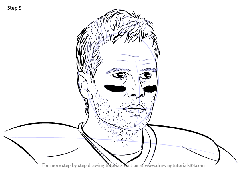 Learn how to draw tom brady footballers step by step for Coloring pages of tom brady