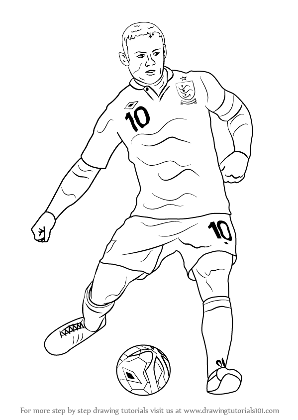 Learn how to draw wayne rooney footballers step by step drawing tutorials