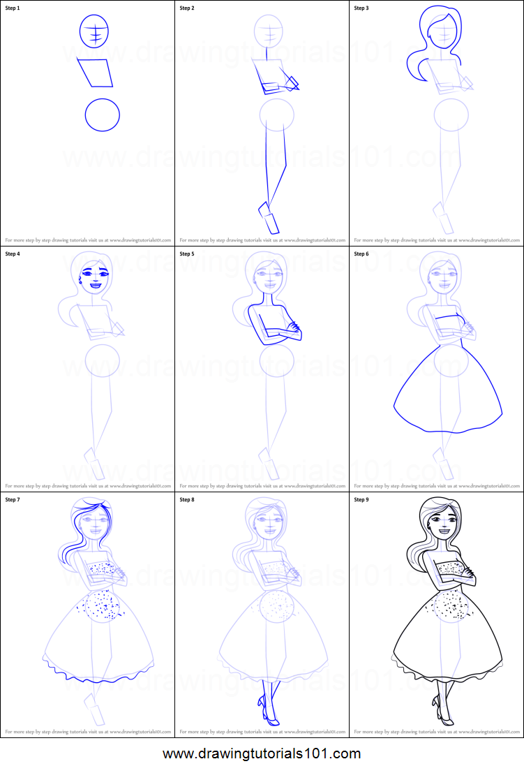 Step by step drawing tutorial on how to draw a beautiful girl in black dress