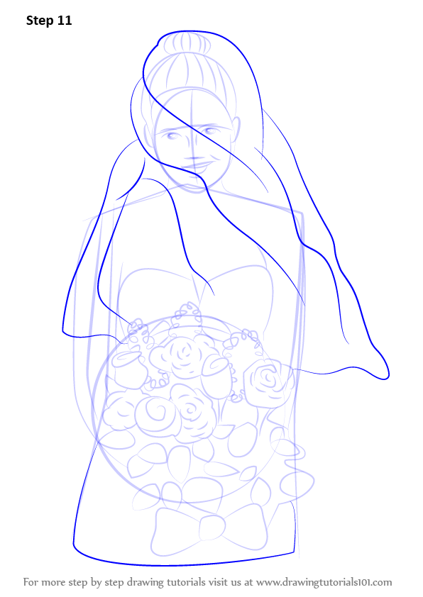Learn How To Draw A Bride With Flowers Girls Step By