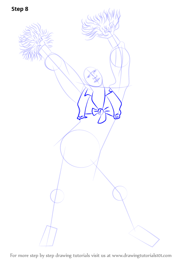 Learn How To Draw A Cheerleader Girls Step By Step