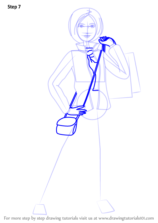 How To Draw Woman Holding Shopping Bag Step