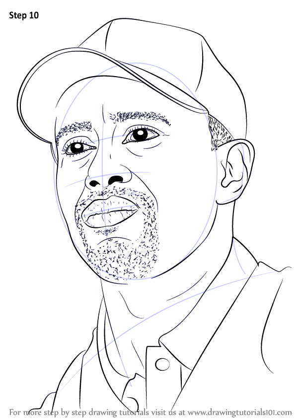 Step By Step How To Draw Tiger Woods Drawingtutorials101 Com